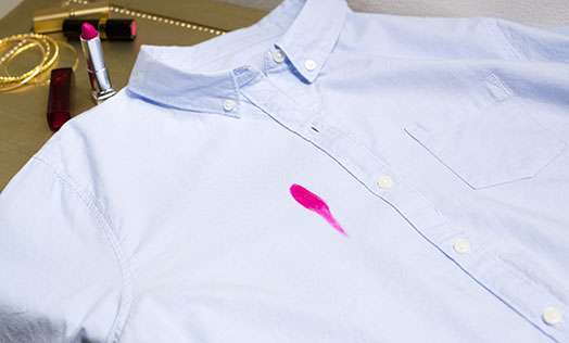Shirt with lipstick stains.